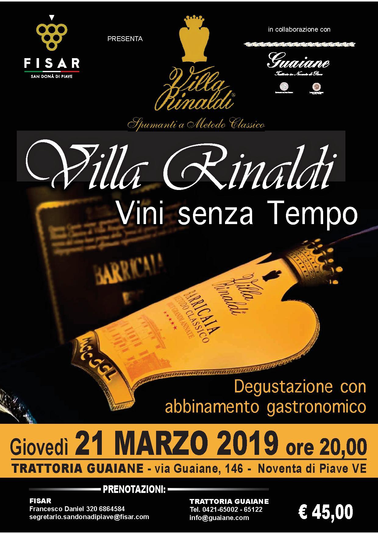 Degustazione Villa Rinaldi, Trattoria Guaiane 21/03/2019
